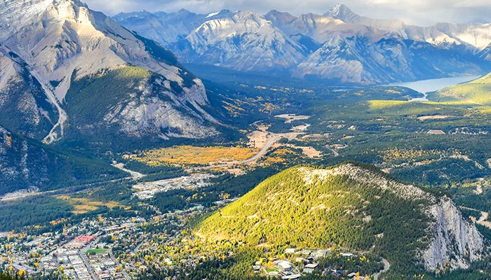 View over the town of Banff and the Canadian Rockies seen from Sulphur Mountain.You can go to the mountaintop with a gondola.